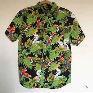 Forever 21 Men's Bird/Leaf Print Fitted Shirt L